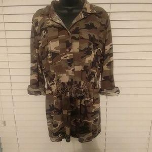 Camouflage Drawstring Tunic 1X